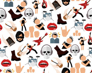 Rock concert music event colored icons seamless pattern vector illustrationのイラスト素材 [FYI03070531]
