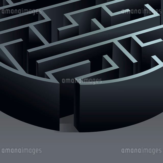 Maze 3d circle labyrinth entrance view background vector illustration.のイラスト素材 [FYI03070532]