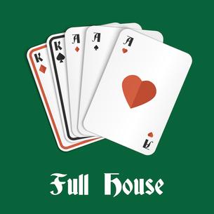 Casino poker gambling full house hand composition vector illustrationのイラスト素材 [FYI03070559]