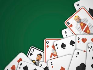 Casino poker hazard risk games playing cards background vector illustrationのイラスト素材 [FYI03070560]