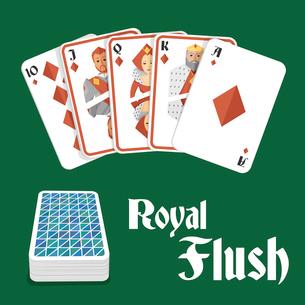 Casino poker gambling diamond royal flush hand and card pile composition vector illustrationのイラスト素材 [FYI03070563]
