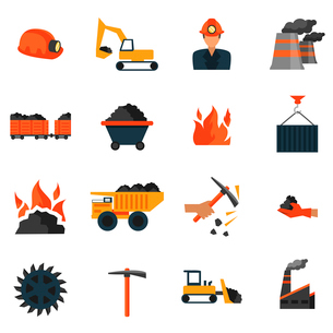 Coal mining factory industry icons set isolated vector illustrationのイラスト素材 [FYI03070567]