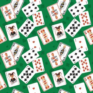 Casino poker hazard risk games playing cards seamless pattern vector illustration.のイラスト素材 [FYI03070568]