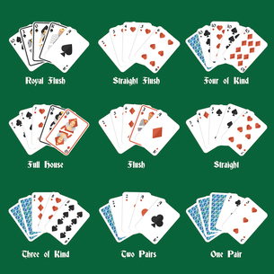 Poker hands set with royal flush four of kind full house isolated vector illustrationのイラスト素材 [FYI03070569]