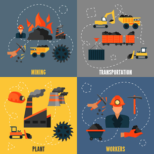 Coal industry mining transportation plant workers flat icons set isolated vector illustrationのイラスト素材 [FYI03070571]
