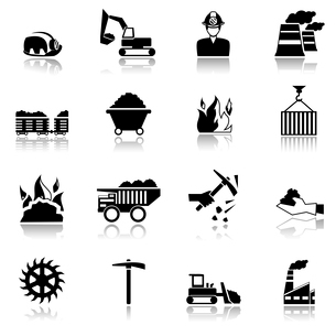 Coal machinery factory mining industry black icons set isolated vector illustrationのイラスト素材 [FYI03070573]