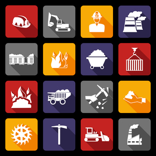 Coal machinery factory mining industry warehouse flat icons set isolated vector illustrationのイラスト素材 [FYI03070574]