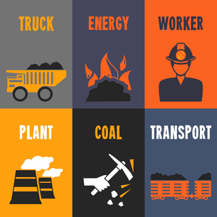 Coal industry truck energy worker mini posters set isolated vector illustrationのイラスト素材 [FYI03070576]