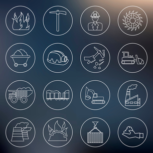 Coal machinery factory mining machinery outline icons set isolated vector illustrationのイラスト素材 [FYI03070578]