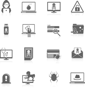 Hacker and computer security protection technology black icons set isolated vector illustrationのイラスト素材 [FYI03070587]