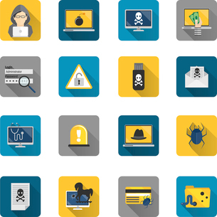 Hacker and computer safety and protection technology flat button icons set isolated vector illustratのイラスト素材 [FYI03070594]