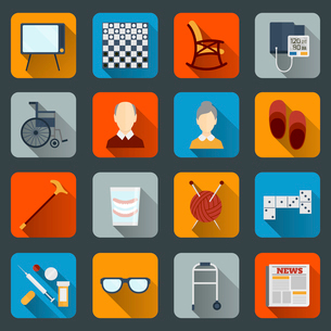 Pensioners life flat icons set of tv checkers rocking chair isolated vector illustrationのイラスト素材 [FYI03070600]