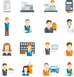 Salesman business figures icons flat set isolated vector illustrationのイラスト素材 [FYI03070601]
