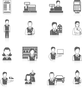 Salesman marketing business icons black set isolated vector illustrationのイラスト素材 [FYI03070603]