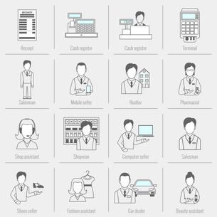 Salesman icons flat line set isolated with receipt cash register realtor isolated vector illustratioのイラスト素材 [FYI03070604]