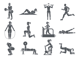 Gym sport exercises fitness weight loss and healthy lifestyle icons set vector illustrationのイラスト素材 [FYI03070609]