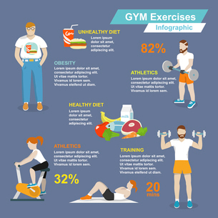 Gym sport exercises fitness and healthy lifestyle infographic set vector illustrationのイラスト素材 [FYI03070611]