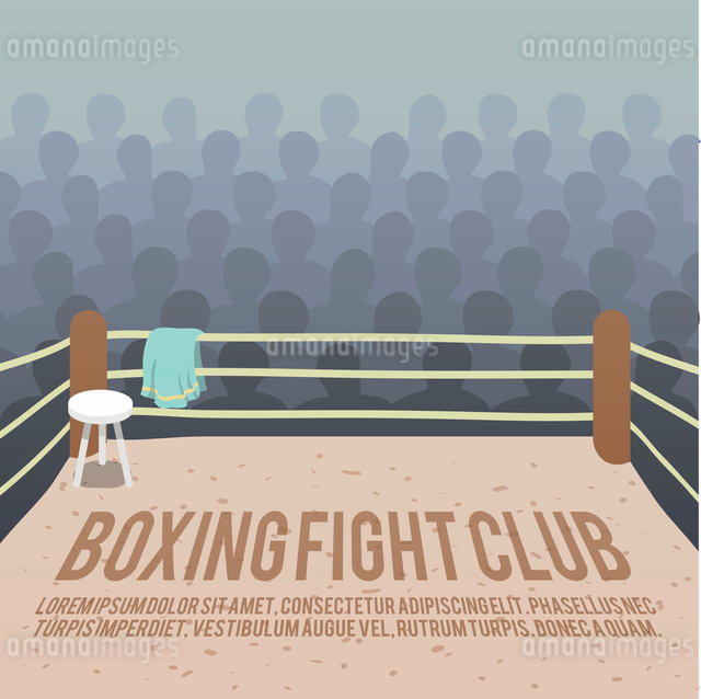 Box fight club background with ring and audience vector illustrationのイラスト素材 [FYI03070612]