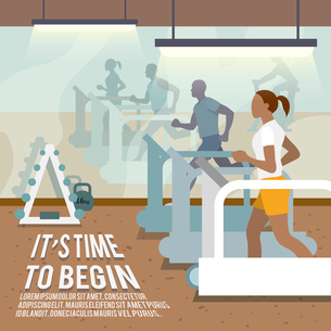 People training on treadmills in gymnasium fitness lifestyle time to begin poster vector illustratioのイラスト素材 [FYI03070613]