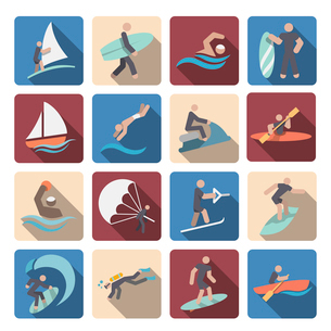 Water sports summer extreme activity colored pictogram icons set isolated vector illustrationのイラスト素材 [FYI03070614]