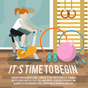 Woman on cycling machine in gymnasium fitness lifestyle time to begin poster vector illustrationのイラスト素材 [FYI03070619]