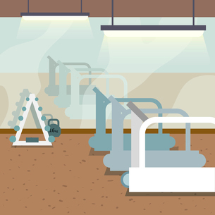Sport gym interior with treadmills and window background vector illustrationのイラスト素材 [FYI03070620]