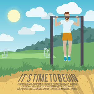 Man do workout on pull-up bar outdoor fitness lifestyle time to begin poster vector illustrationのイラスト素材 [FYI03070621]