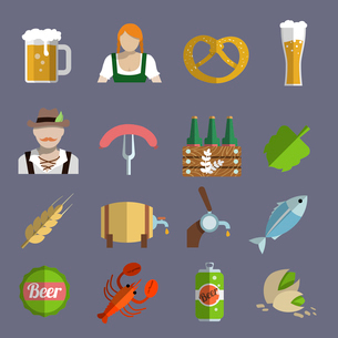 Beer icons set with barrel glass and fork with sausage isolated vector illustrationのイラスト素材 [FYI03070622]