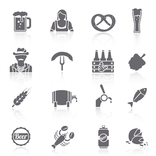 Beer icons black set with barrel bottle glass and fork with sausage isolated vector illustrationのイラスト素材 [FYI03070623]