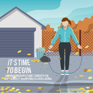 Woman with jump rope outdoor fitness lifestyle time to begin poster vector illustrationのイラスト素材 [FYI03070624]