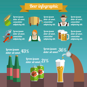 Beer draught and bottle alcohol beverage infographic set vector illustrationのイラスト素材 [FYI03070627]