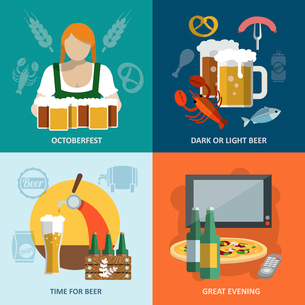 Dark and light beer Oktoberfest great evening flat icons set isolated vector illustrationのイラスト素材 [FYI03070628]