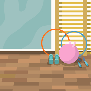 Sport gym interior with mirror and fitness equipment background vector illustration.のイラスト素材 [FYI03070629]