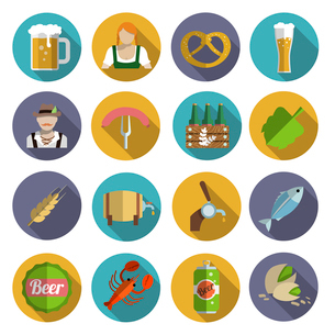 Beer alcohol drink Oktoberfest festival icons flat set isolated vector illustrationのイラスト素材 [FYI03070631]