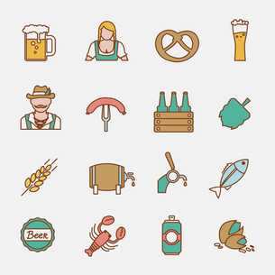 Beer Oktoberfest icons flat line set with wheat ear lobster fish isolated vector illustrationのイラスト素材 [FYI03070633]