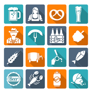 Beer cold alcohol beverage Oktoberfest festival icons flat set isolated vector illustrationのイラスト素材 [FYI03070634]