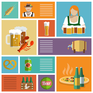 Beer cold alcohol drink Oktoberfest festival decorative icons flat set isolated vector illustrationのイラスト素材 [FYI03070635]