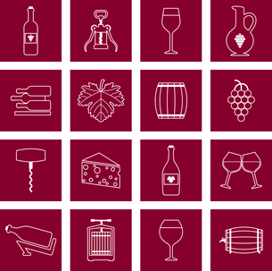 Wine alcohol drink outline icons set of wineglass bottle isolated vector illustrationのイラスト素材 [FYI03070646]