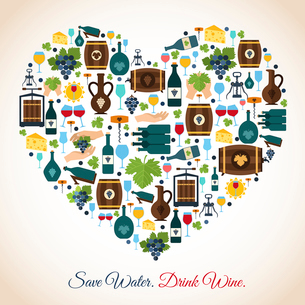Drink wine save water decorative icons heart vector illustrationのイラスト素材 [FYI03070654]