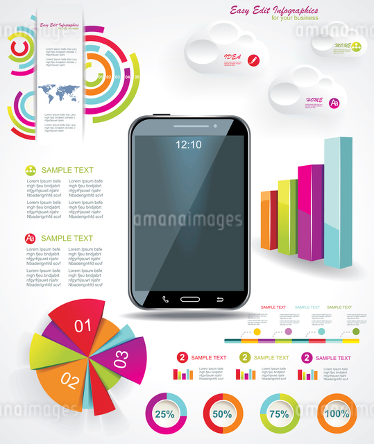 Modern Infographic with a touch screen smartphone in the middle.のイラスト素材 [FYI03070668]