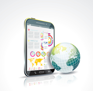 Illustration of a smart phone and globe. Vector.のイラスト素材 [FYI03070680]
