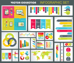 Collection of quality Infographics Design. Vector templates ready to display your data.のイラスト素材 [FYI03070695]