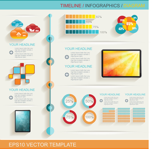 Infographic design template with web buttons and paper tags.のイラスト素材 [FYI03070699]