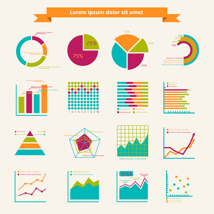 Business infographic elements for finance marketing or strategy report isolated vector illustrationのイラスト素材 [FYI03070731]