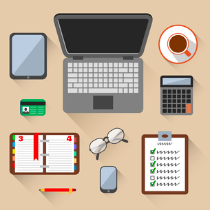 Top view on business workplace with laptop mobile phone glasses and id card vector illustrationのイラスト素材 [FYI03070733]