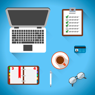 Top view on business workplace with notebook coffee glasses and documents vector illustrationのイラスト素材 [FYI03070734]