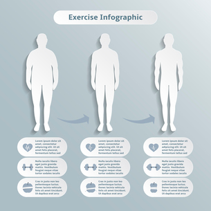 Infographic elements for men fitness and sports of healthcare weight loss power training vector illuのイラスト素材 [FYI03070737]
