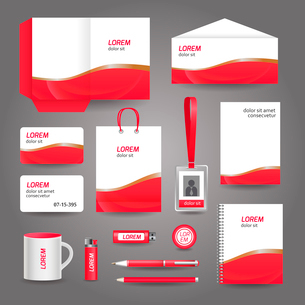 Red wavy abstract business stationery template for corporate identity and branding set vector illustのイラスト素材 [FYI03070738]