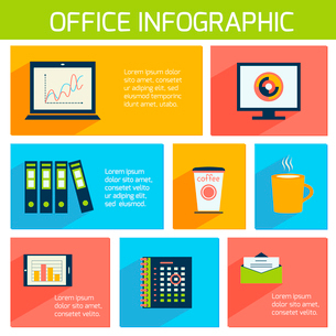 Office infographics flat business template with stationery supplies vector illustrationのイラスト素材 [FYI03070740]