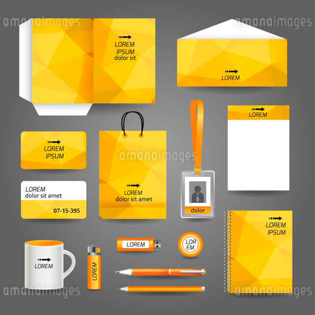 Yellow geometric technology business stationery template for corporate identity and branding set vecのイラスト素材 [FYI03070741]